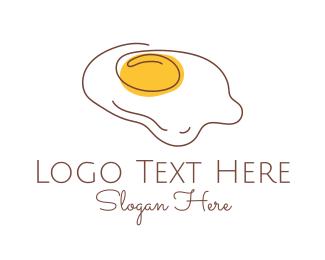 Line Art - Fried Egg Line Art logo design
