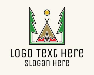 Tipi - Forest Tipi Tent  logo design