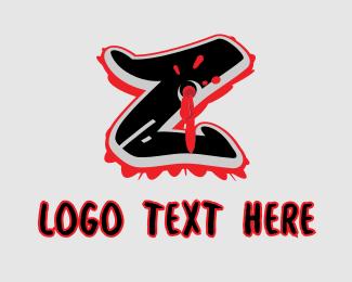 Bullet Hole - Splatter Graffiti Letter Z logo design