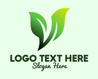 Geen - Green Organic Plant Letter V logo design