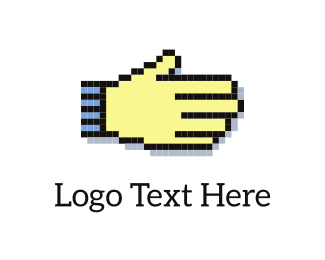 Bitmap - Pixelated Hand logo design