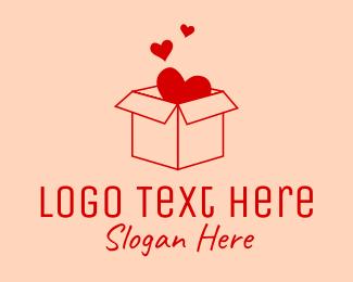 Gift Box - Love Box logo design