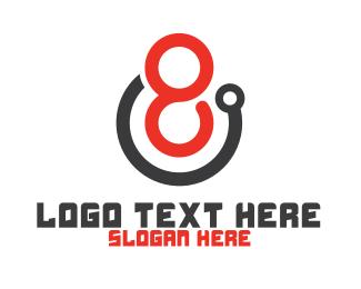 Billiards - Tech Number 8 Outline logo design