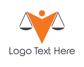 Court House - Orange Scale Person logo design