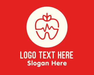 Heart Pulse - Red Apple Dental Pulse logo design