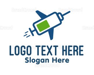 Injection - Airplane Syringe logo design