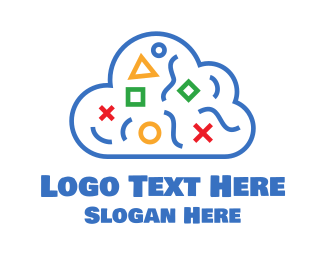 Blue Shapes Cloud Logo