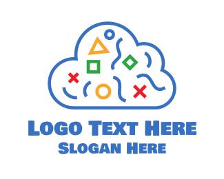 Math - Blue Shapes Cloud logo design