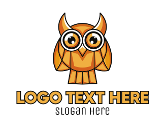 Gold Bird - Gold Mosaic Owl logo design