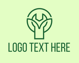 Simple - Green Tree Wrench logo design