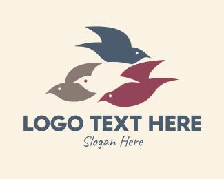 Birdwatching - Flying Bird Flock logo design
