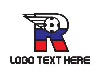 France - Soccer Letter R logo design