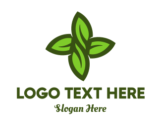 Grass - Green Leaves Cross logo design