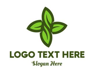 Bush - Green Leaves Cross logo design