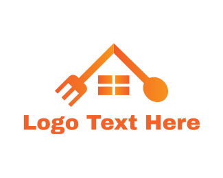 Orange House - Cutlery House logo design