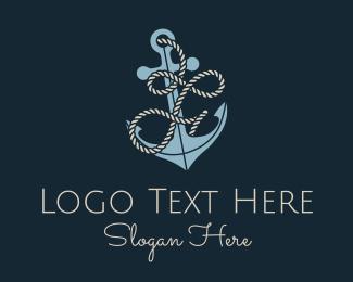 F - Anchor Rope Letter F logo design