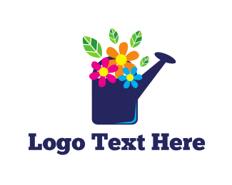 Watering - Colorful Flowers logo design
