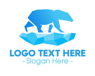 Arctic - Blue Gradient Polar Bear logo design