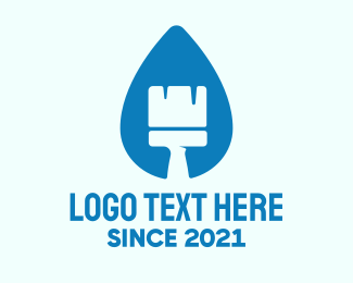 Drywall - Blue Liquid Brush logo design