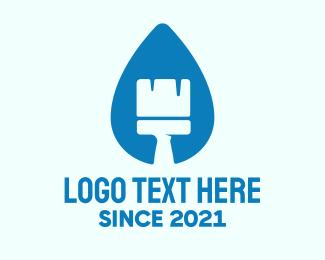 Liquid - Blue Liquid Brush logo design