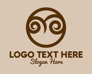 Swirls - Abstract Owl Face  logo design