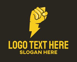 Energy Drink - Lightning Bolt Fist  logo design