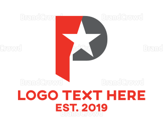 Celebrity - Modern P Star logo design