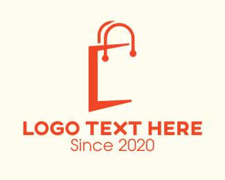 Shop - Orange Shopping Bag Letter C logo design