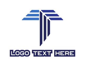Steel - Blue Stripe T logo design