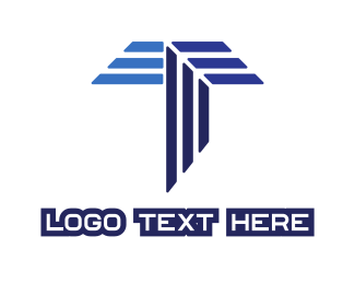 Stripe - Blue Stripe T logo design