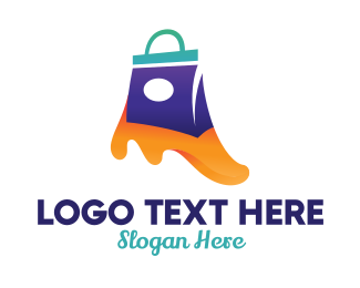 Outlet Store - Shopping Bag Slime logo design