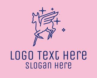 Mythology - Flying Mythological Deer  logo design