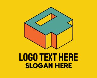 3D Pixel Letter D Logo