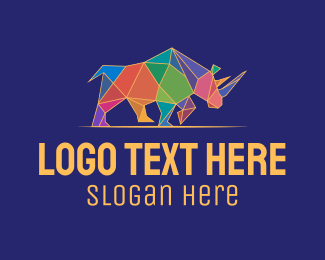 Rhino - Colorful Geometric Rhino logo design