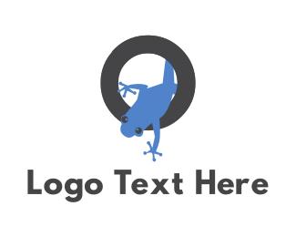 Amphibian - Tropical Blue Frog logo design