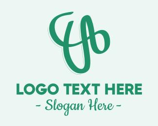 Green Cursive Letter V Logo