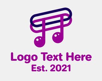 Music Sheet - Musical Note Paper Clip logo design
