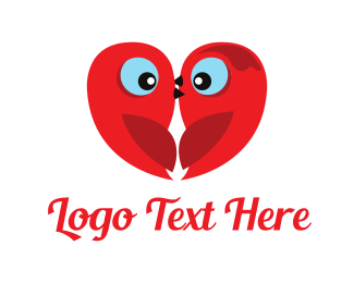 T-shirt - Little Red Love Birds logo design