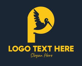 Rainforest - Yellow Pelican Letter P logo design