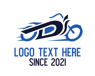 Blue Bike - Motorcycle Letter D logo design