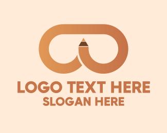 Glasses - Brown Pencil Glasses logo design