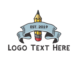Elementary School - Art School Pencil logo design