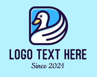 Birdwatching - White Bird Letter D logo design
