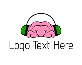 Headphone - Brain & Headphones logo design