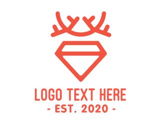 Beige - Antler Diamond logo design