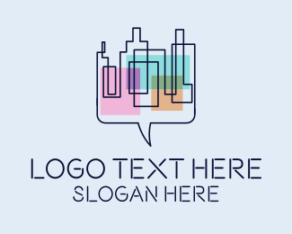 Message Bubble - City Messaging  logo design