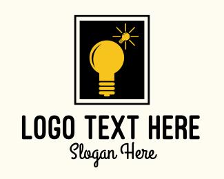 Venture - Lightbulb Idea Frame logo design