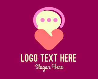 Speech Bubble - Heart Speech Bubble logo design