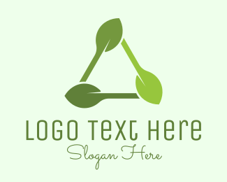 Vegan Food - Organic Triangle Leaf  logo design