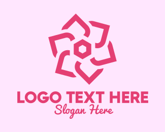 Pink Cosmetic Flower Logo Maker